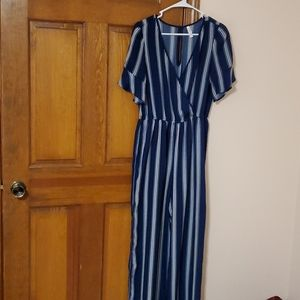 Xhiliration Medium navy blue striped jumpsuit,